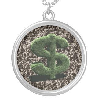 very grassy Dollar symbol Round Pendant Necklace