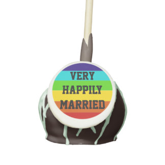 Very Happily Married Rainbow statement Cake Pops