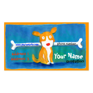very happy dog profile card business cards