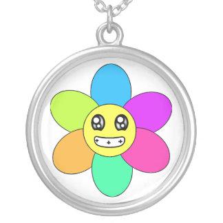 Very Happy Flower Round Pendant Necklace