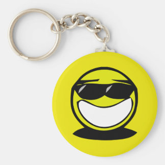 Very happy smiley wearing shares basic round button keychain
