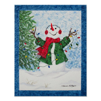 Very Happy Snowman - Christmas Poster/Print Poster