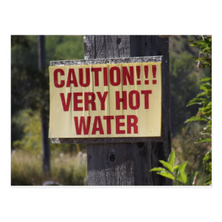 Very Hot Water Sign Postcard