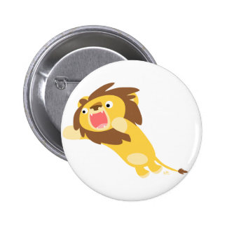 Very Hungry Cute Cartoon Lion Button Badge