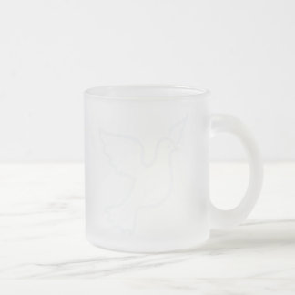 Very Light Blue Peace Dove Frosted Glass Coffee Mug