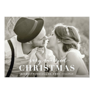"Very Married Christmas Newlywed Holiday Card 5"" X 7"" Invitation Card"