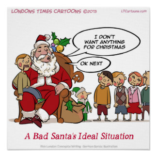 Very Mean Santa Funny Poster Posters