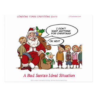 Very Mean Santa Ideal Situation Funny Postcard