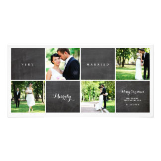 Very Merrily Married Chalkboard Photo Collage Card
