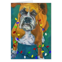 Very Merry Boxer Girl Holiday Greeting Card