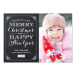 Very Merry Christmas Chalkboard Holiday Photo Card at Zazzle