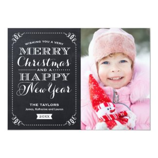 Very Merry Christmas Chalkboard Holiday Photo Card Personalized Announcement
