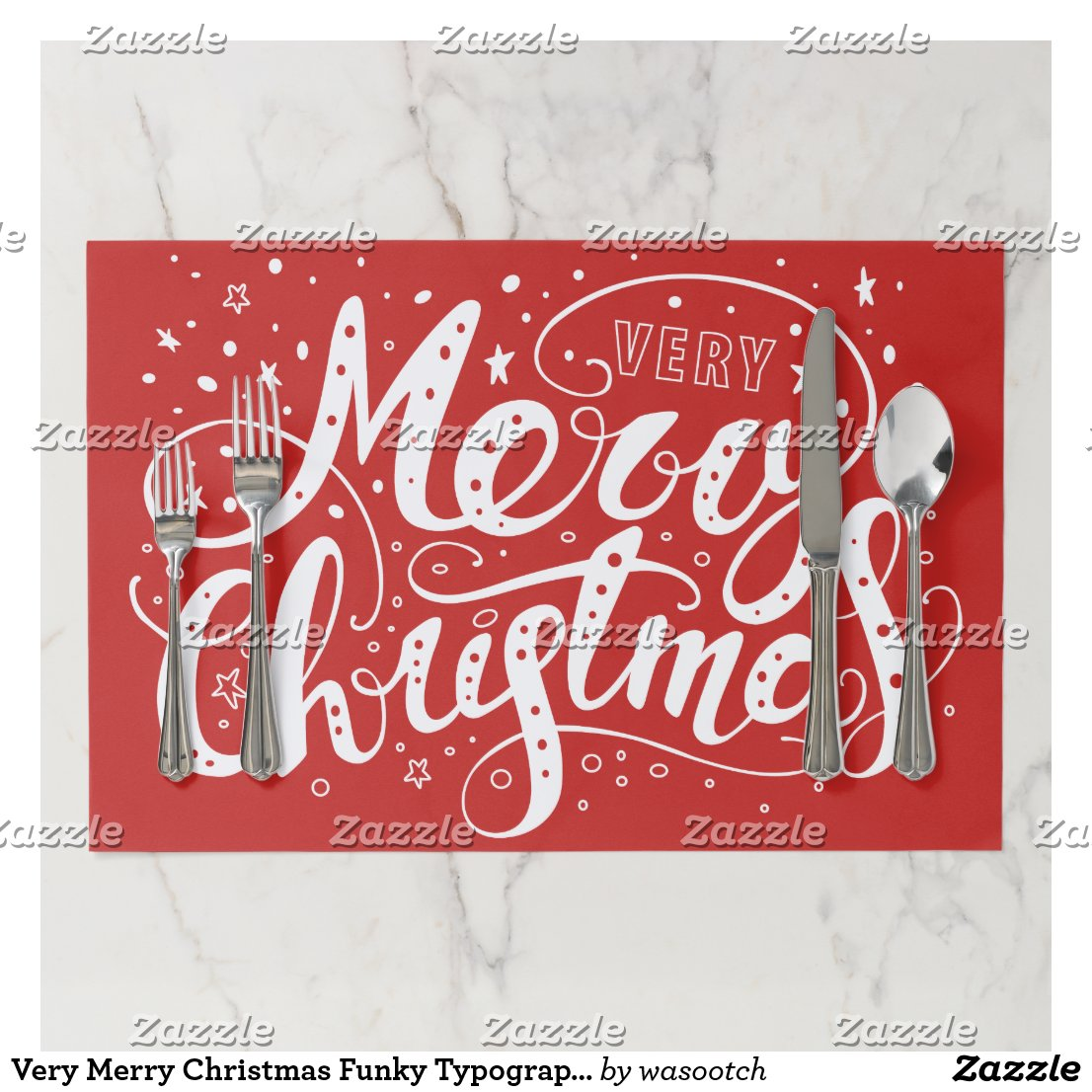 Very Merry Christmas Funky Typography Stars Paper Placemat