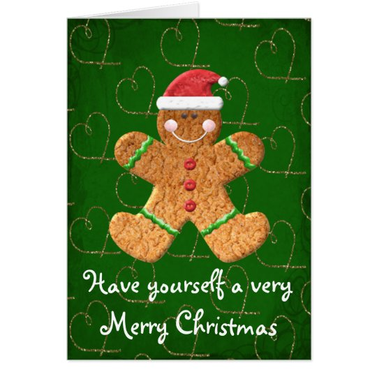 Very Merry Christmas Gingerbread Cookie card