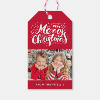 Very Merry Christmas Photo Gift Tags | Red