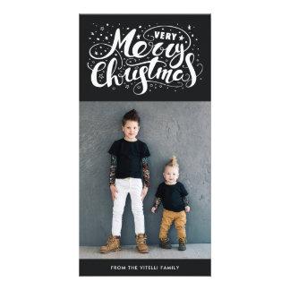 Very Merry Christmas Photocard   Muted Black Card
