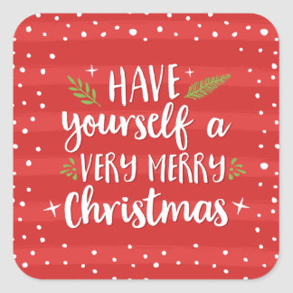 Very Merry Christmas | Red Stripes Holiday Square Sticker