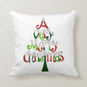 Very Merry Christmas Tree Throw Pillow