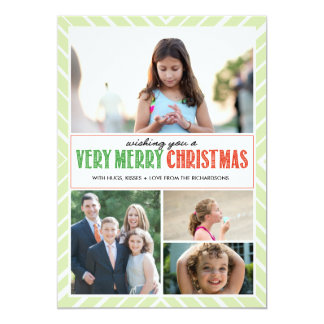 Very Merry Christmas Wishes x4 5x7 Paper Invitation Card