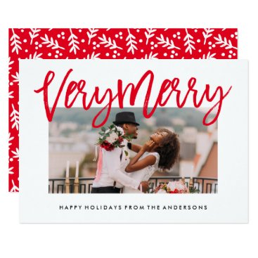 Christmas Themed Very Merry in Red Holiday Photo Card