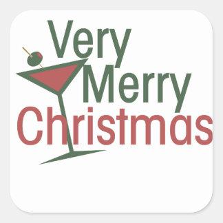 Very Merry Martini Xmas Square Sticker