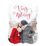 Very Merry Red Script Christmas Photo Cards