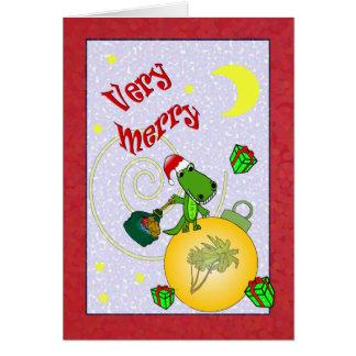 Very Merry Santa Alligator Palm Tree Christmas Card