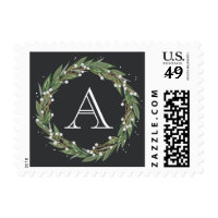Very Merry Wreath, Monogrammed Christmas Stamp
