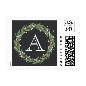 Christmas Themed Very Merry Wreath, Monogrammed Christmas Stamp