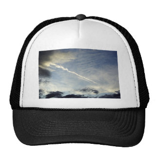 Very nice double traces of airplane in the morning trucker hat