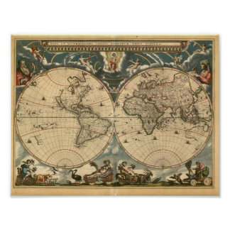 Very Old Latin World Map Poster