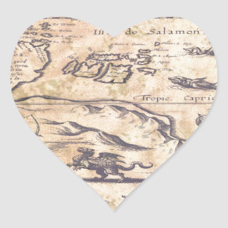 Very OLD map Heart Sticker
