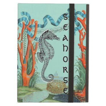 Beach Themed Very Old Seahorse Beach Scene iPad Air Cover