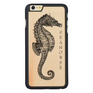 Very Old Seahorse Drawing On Wood Carved Maple iPhone 6 Plus Slim Case