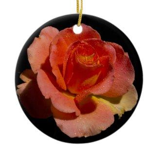 Very Orange Rose Christmas Ornament