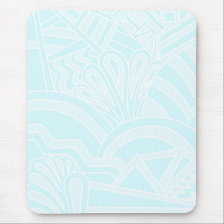 Very Pale Blue Art Deco Style Background Design Mouse Pads