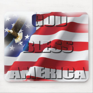 Very Patriotic American Flag God Bless America Mouse Pad