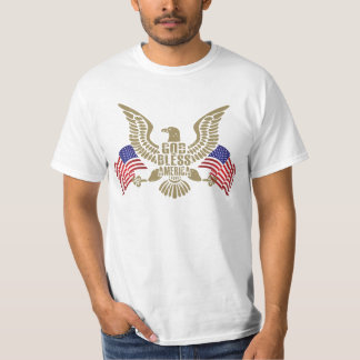 Very Patriotic God Bless America Eagle and Flags T-Shirt
