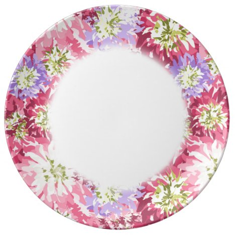 Very pretty floral in pink and mauve porcelain plate