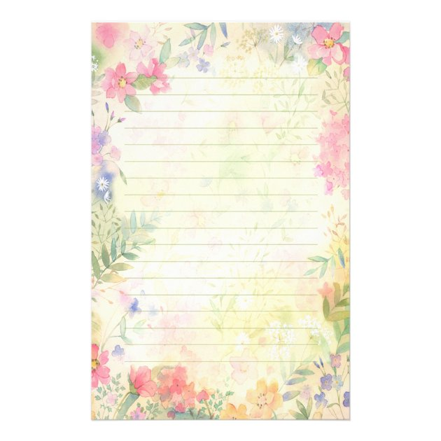 Very Pretty Floral Lined Stationery Paper  Lined Stationary Template