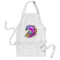 Very Pretty Mother & Calf Dolphins Adult Apron