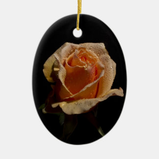 Very Pretty Orange Rose Double-Sided Oval Ceramic Christmas Ornament