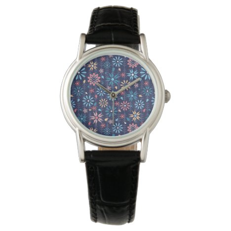 Very pretty pink flowers on dark blue background wristwatch