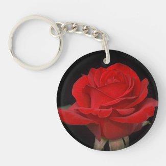 Very Pretty Red Rose Round Acrylic Keychain
