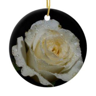 Very Pretty White Rose Christmas Tree Ornament