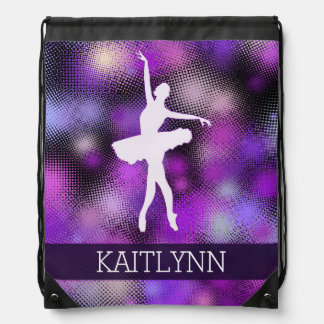Very Purple Dancer Half-Tone Drawstring Bag