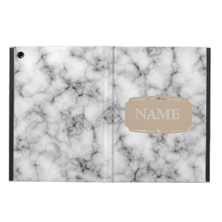 Very realistic White Marble Pattern With Monogram Cover For iPad Air