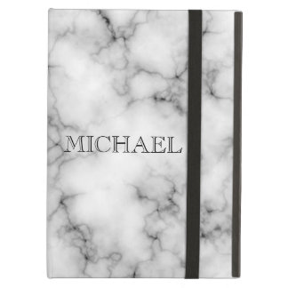 Very realistic White Marble Pattern With Monogram iPad Air Cover