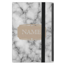 Very realistic White Marble Pattern With Monogram iPad Mini Case