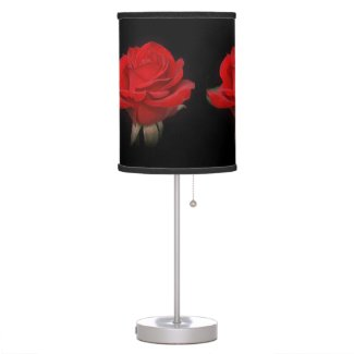 Very Red Rose on Black Desk Lamps
